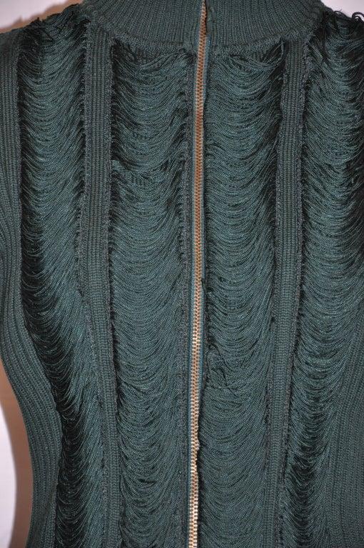Women's or Men's Jean Paul Gaultier green knit zipper jacket