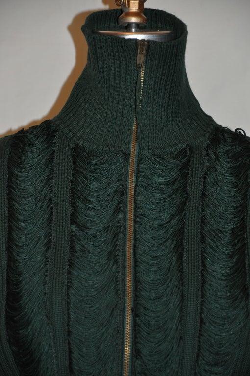 Jean Paul Gaultier green knit zipper jacket 1