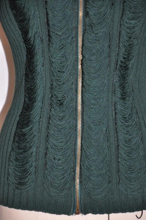 Jean Paul Gaultier green knit zipper jacket 2