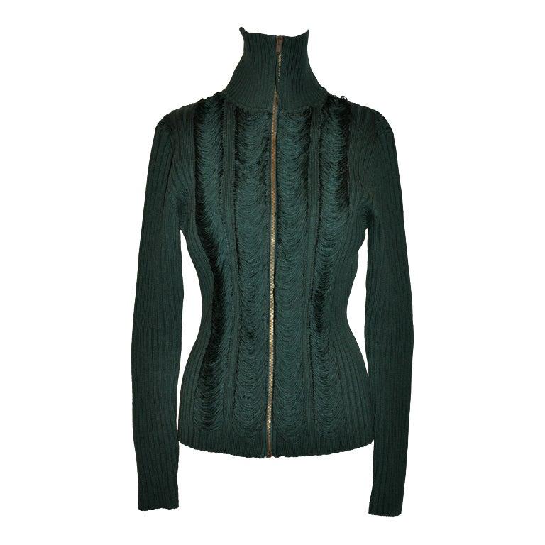 Jean Paul Gaultier green knit zipper jacket