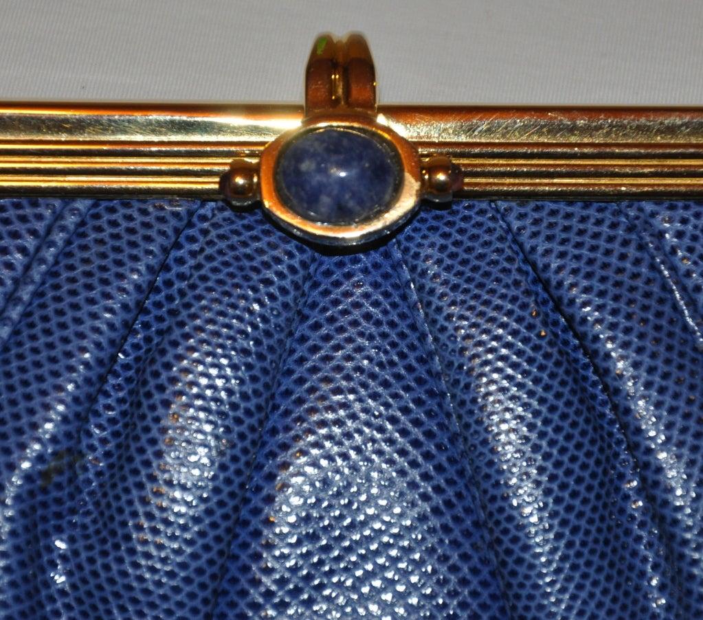 Blue Judith Leiber blue lizard clutch For Sale