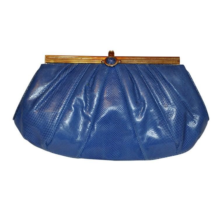Judith Leiber blue lizard clutch For Sale