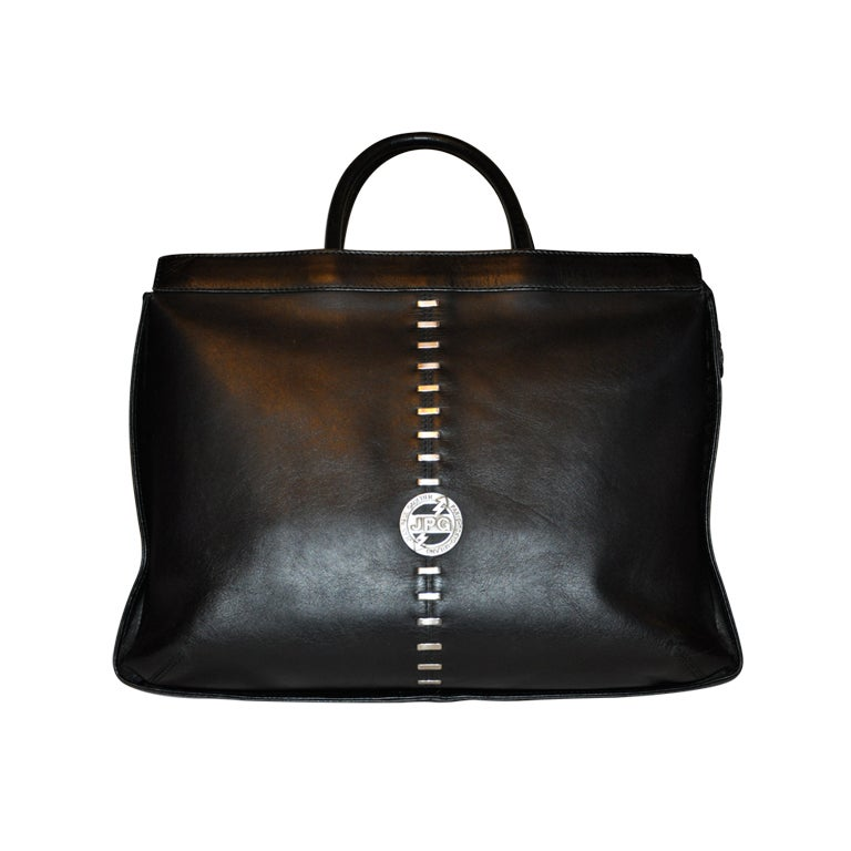 Jean Paul Gaultier Bag In Prince De Galles Canvas And Black Patent Leather rxpQX