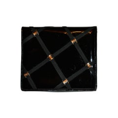 Salvador Ferragamo patent-leather clutch/ shoulder bag