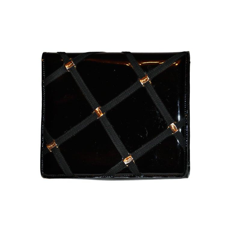 Salvador Ferragamo patent-leather clutch/ shoulder bag