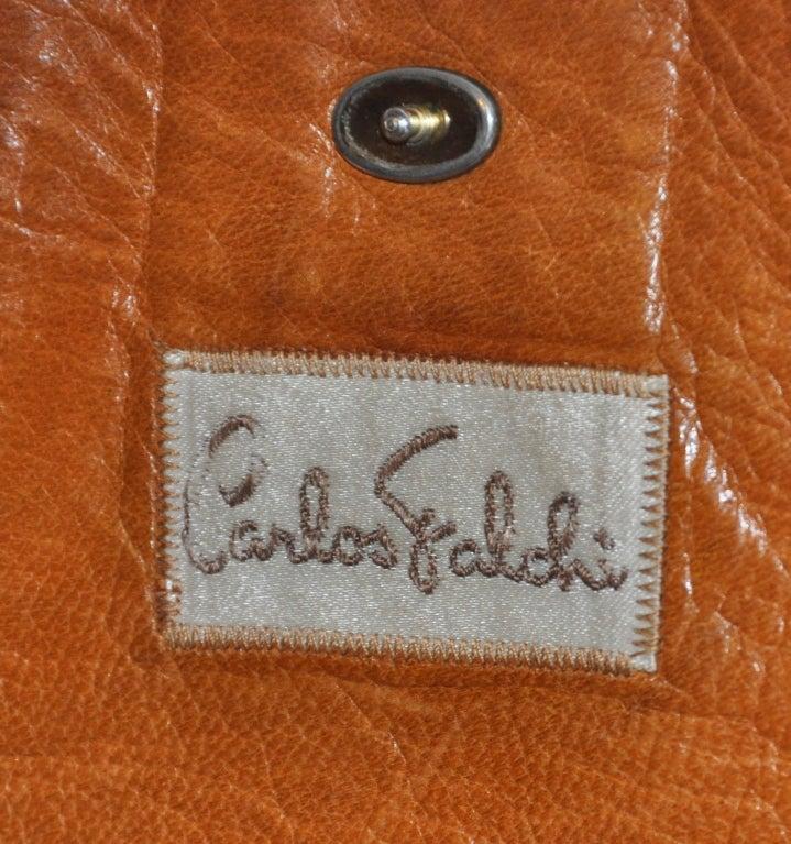 Brown Carlos Falchi lizard patchwork clutch For Sale