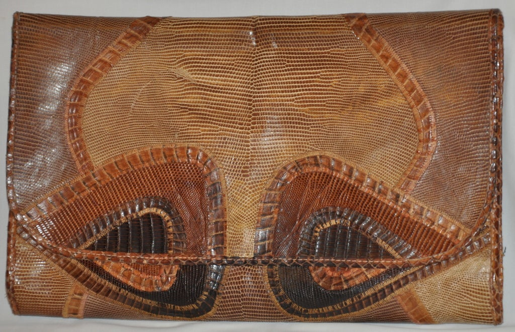 Women's Carlos Falchi lizard patchwork clutch For Sale