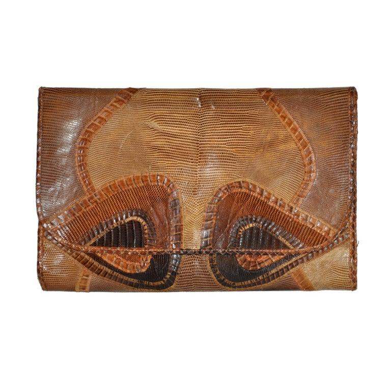 Carlos Falchi lizard patchwork clutch For Sale