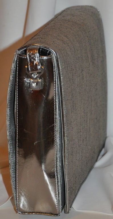Charles Jourdan gray silk with metallic silver shoulder bag 3