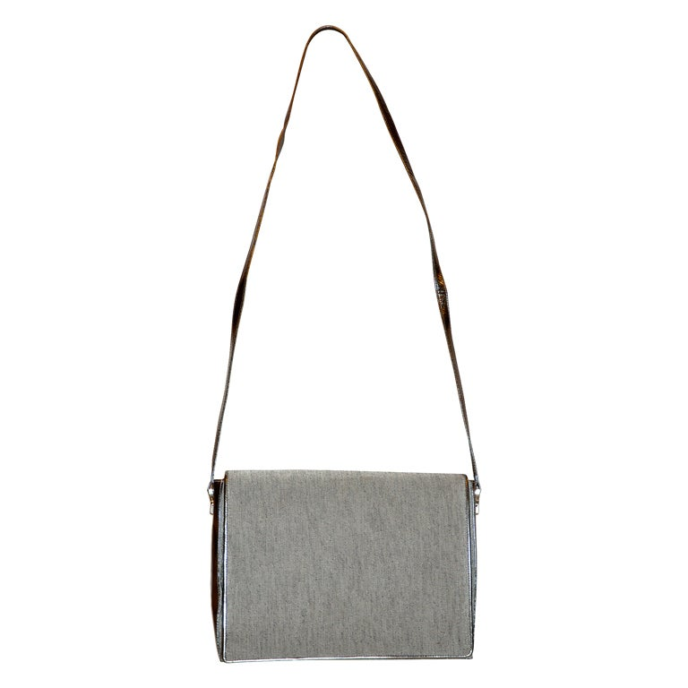 Charles Jourdan gray silk with metallic silver shoulder bag For Sale