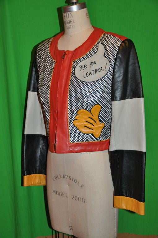 """Brown Moschino """"Mickey Mouse"""" leather crop jacket For Sale"""