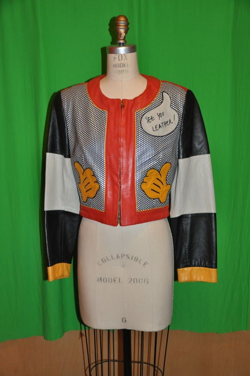 """Moschino """"Mickey Mouse"""" leather crop jacket For Sale 1"""