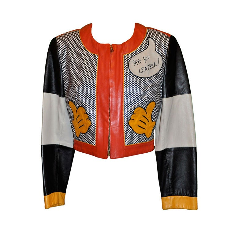 "Moschino ""Mickey Mouse"" leather crop jacket 1"