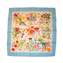 "Gucci Signature Classic ""Floral"" Silk Scarf with Blue Borders"