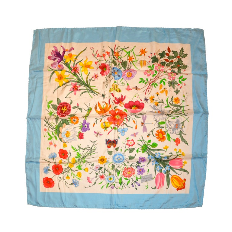 """Gucci Signature Classic """"Floral"""" Silk Scarf with Blue Borders"""