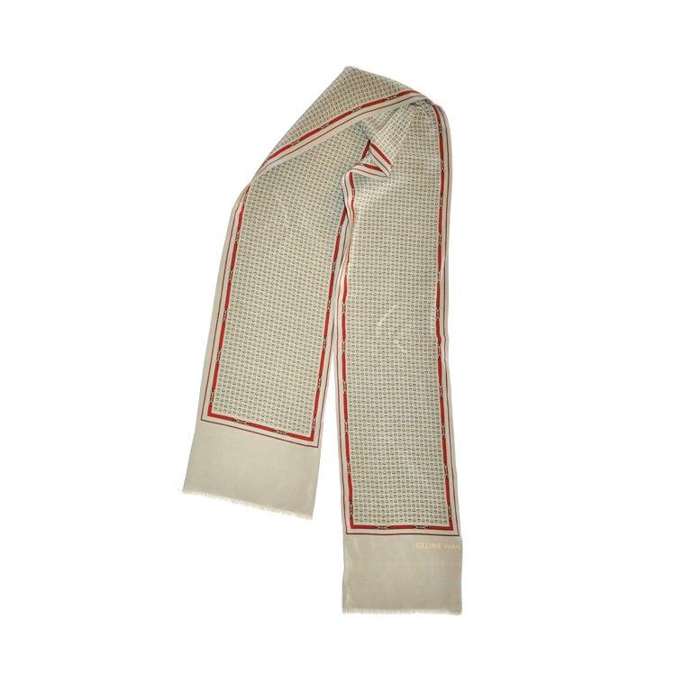 "Celine silk ""Horse Bit"" rectangle scarf"