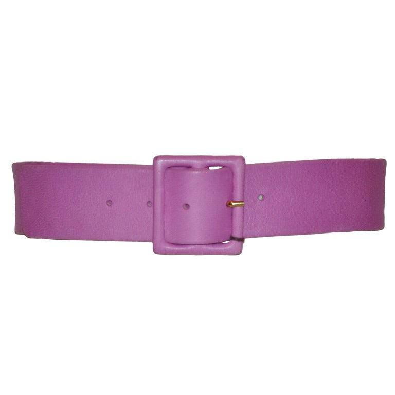 Yves Saint Laurent lavender leather belt
