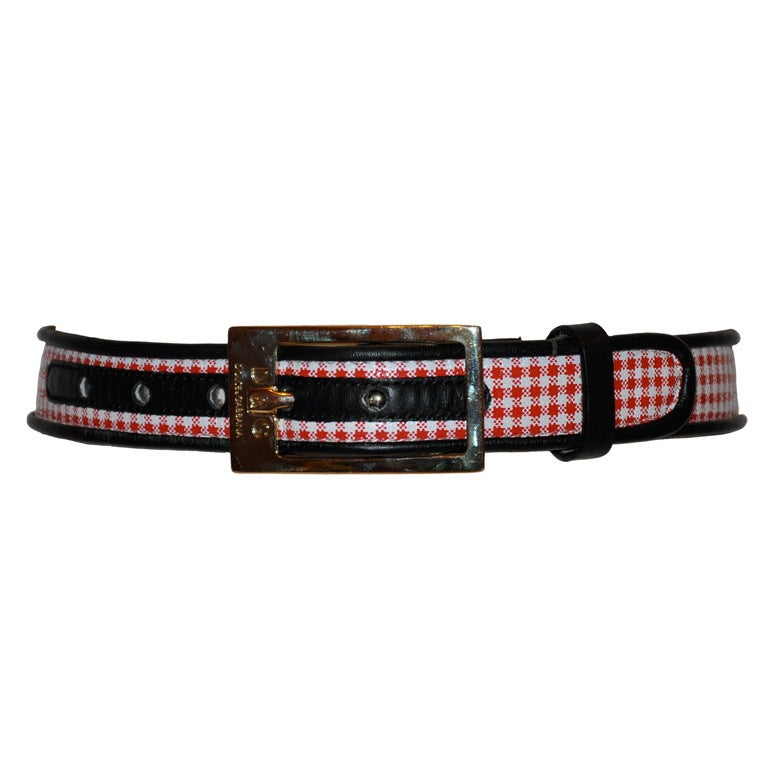 Dolce & Gabbana checkered red & white with navy leather belt
