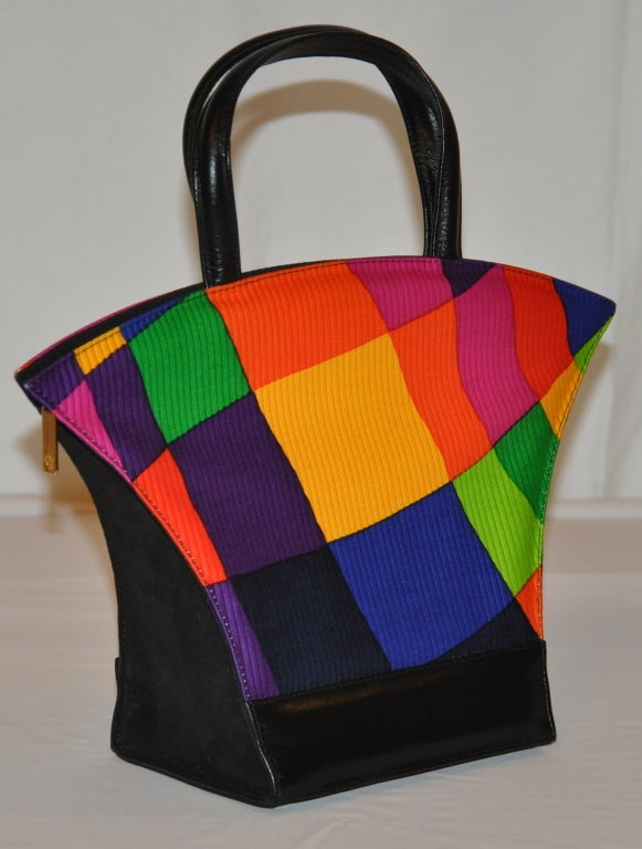 Charles Jourdan Multi-Colored Bold Block Print HandBag 3