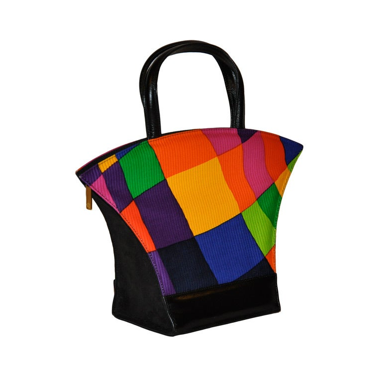 Charles Jourdan Multi-Colored Bold Block Print HandBag 1