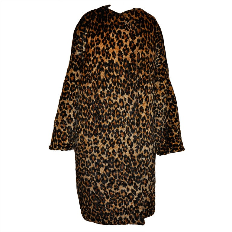 Rare Patrick Kelly quilted leopard print coat For Sale