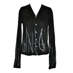 TSE black cashmere with silk embroidery cardigan