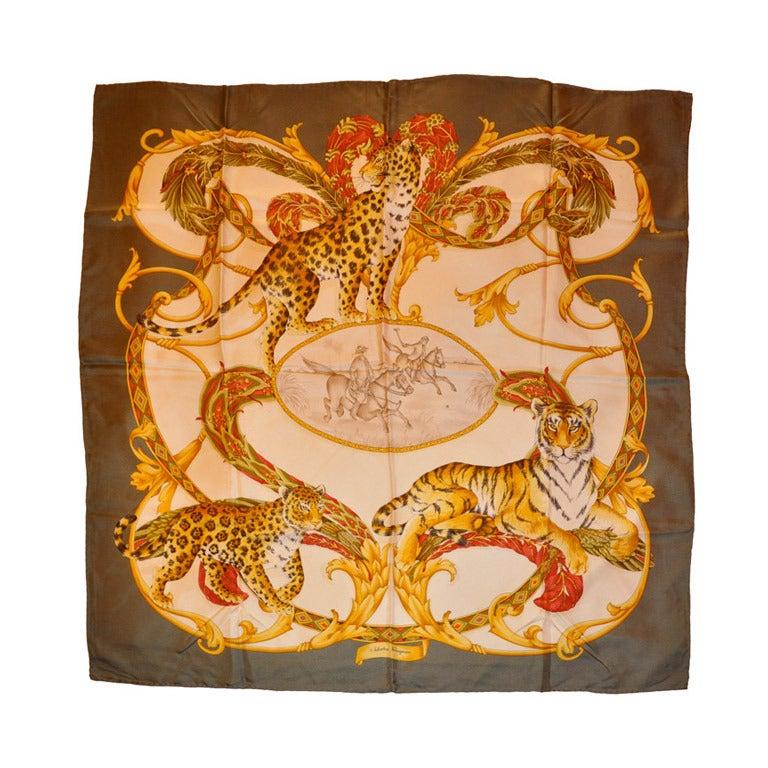 salvatore ferragamo classic quot leopard quot silk scarf for sale