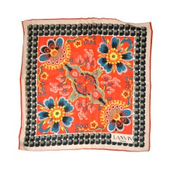 Lanvin multi-color floral print silk scarf
