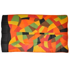 Yves Saint Laurent Huge Bold Multicolor Silk Chiffon Scarf