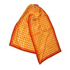 Perry Ellis tangerine, red & white silk scarf