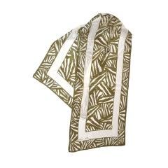 Anne Klein Olive & white silk scarf