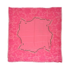 Charles Jourdan Huge Fuchsia & Black Silk Crepe de Chine Scarf