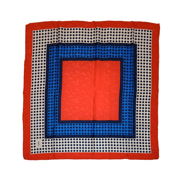 Signature Yves Saint Laurent Bold Red, White and Blue Crepe De Chine Scarf