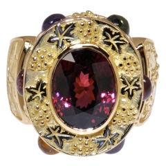 6.02 Carat Malaya Garnet Gold Tuscany Ring