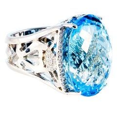 52.0 Carat London Blue Topaz Diamond Gold Ring