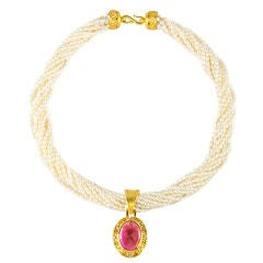 Emma Quist AntiQuity Seed Pearl Necklace with Rubellite Pendant