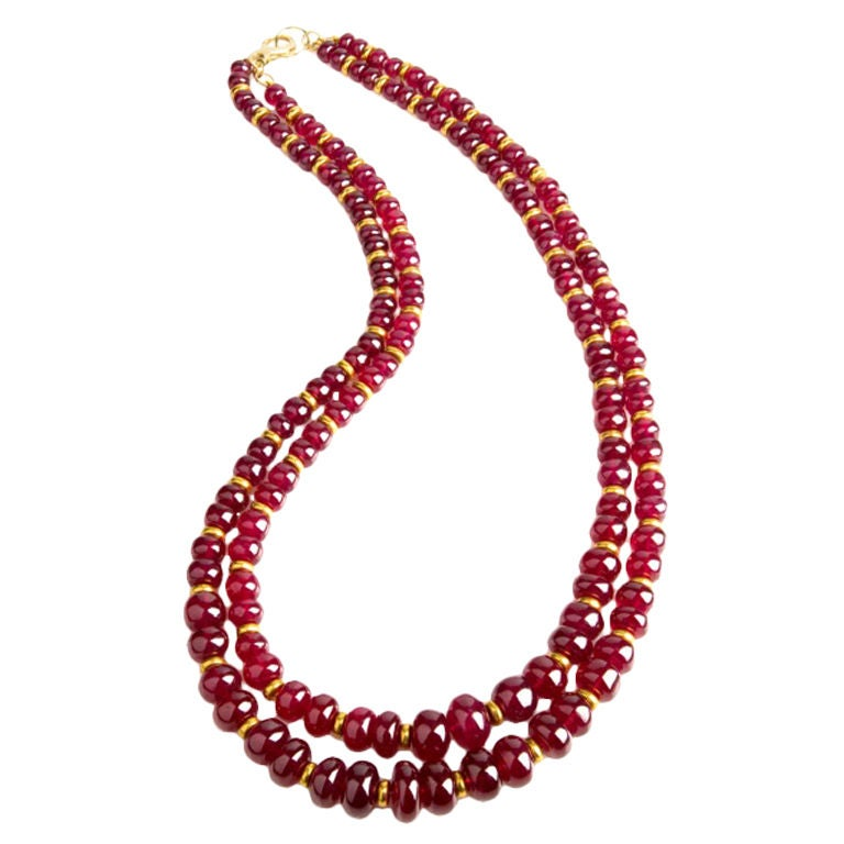 quist quot quot ruby bead and gold necklace at