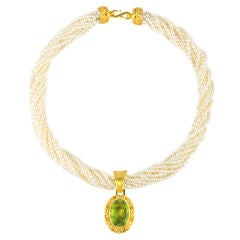 AntiQuity Seed Pearl Necklace with Pakistani Peridot Pendant