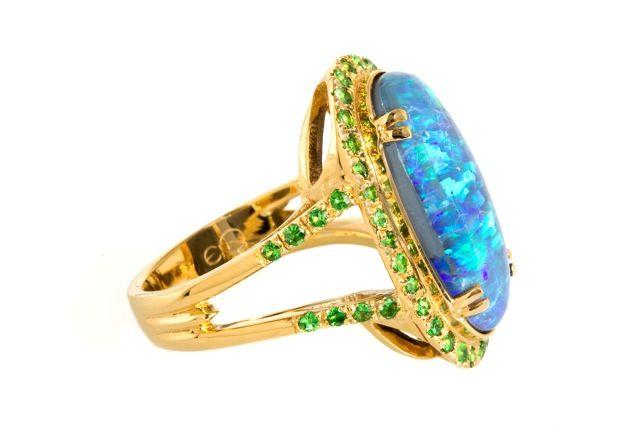 Black Opal & Tsavorite Garnet Ring image 2
