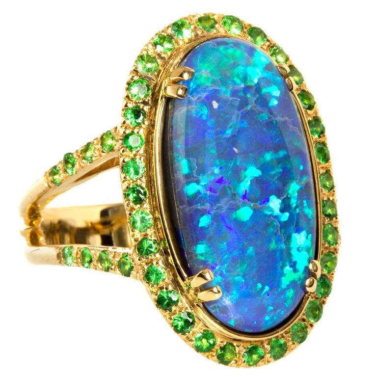 Black Opal & Tsavorite Garnet Ring