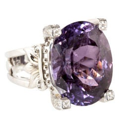 Emma Quist 20.19 Carat Purple Tourmaline Diamond Gold Ring
