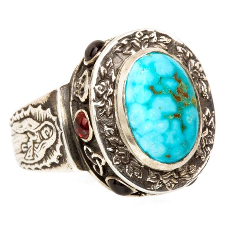 Emma Quist Turquoise Garnet Alleluia Ring