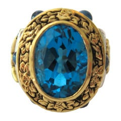 Six Carat Blue Topaz Multicolored Sapphire Gold Aleluya Ring