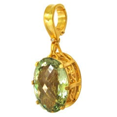 30 Carat Green Amethyst Quartz Gold Hand-Carved Pendant