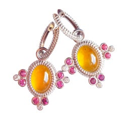 20.72 Carat Yellow Tourmaline Rubellite Diamond Gold Earrings