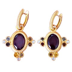 Garnet Tourmaline Diamond Gold Charms and Hoops