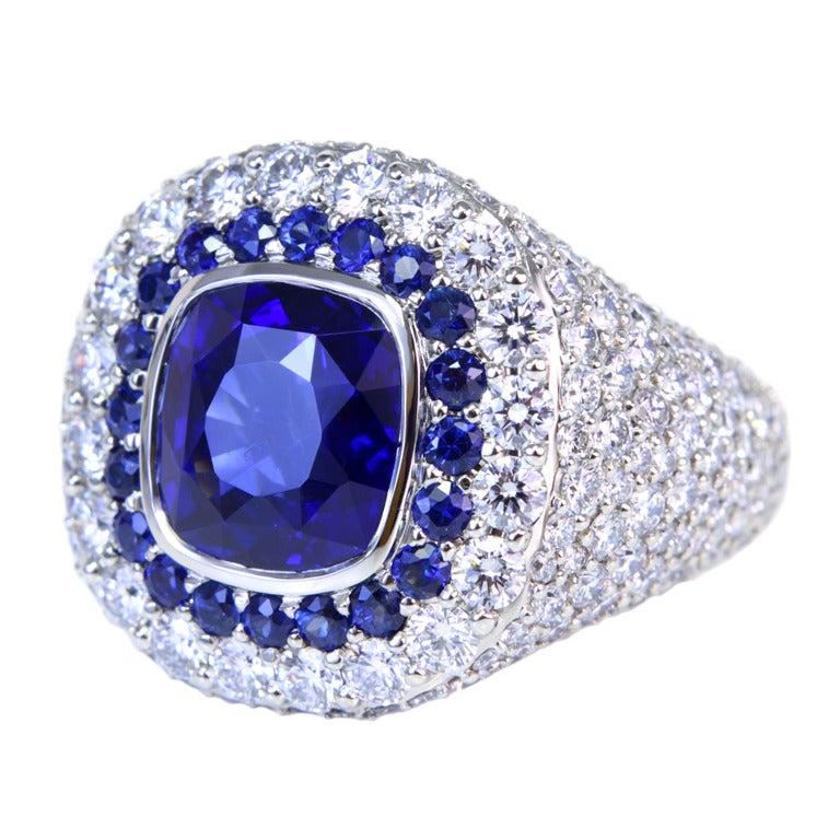 Royal Vivid Blue Sapphire Diamond Ring At 1stdibs