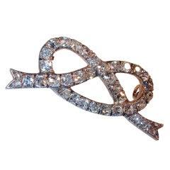 Antique Diamond Love Knot Pin