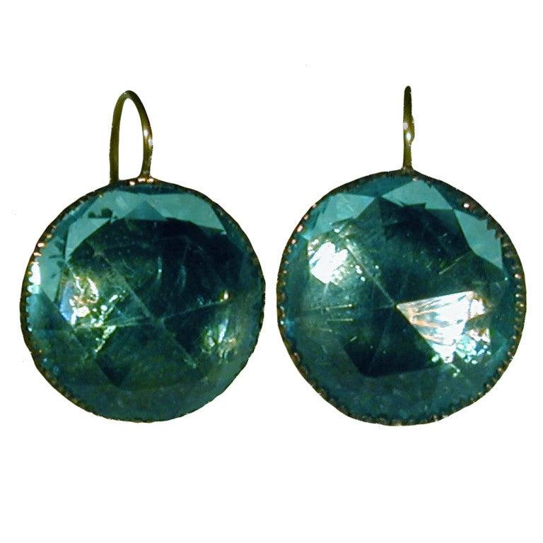 """""""Queen Anne"""" Aqua Paste Earrings 1"""