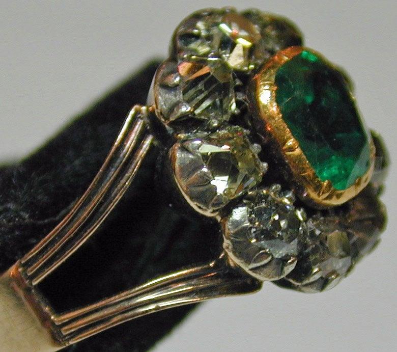 Georgian Antique Emerald and Diamond Cluster Ring